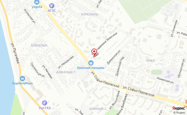 Карта расположения пункта доставки Уфа Софьи Перовской в городе Уфа