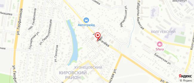 Карта расположения пункта доставки Уфа Испытателей в городе Уфа