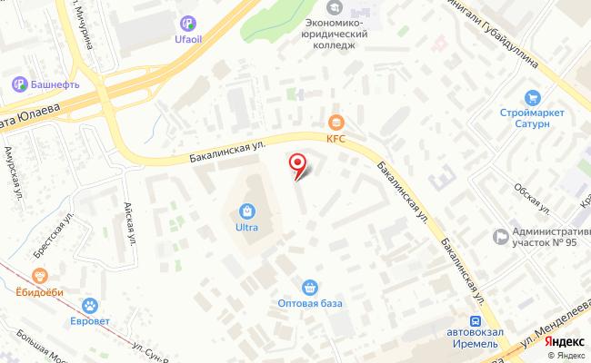 Карта расположения пункта доставки Уфа Бакалинская в городе Уфа