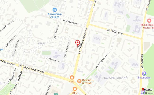 Карта расположения пункта доставки Уфа Степана Кувыкина в городе Уфа