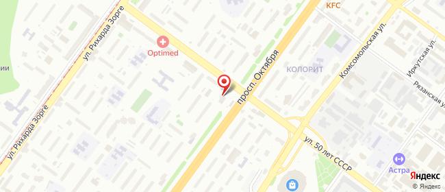 Карта расположения пункта доставки Уфа Октября в городе Уфа