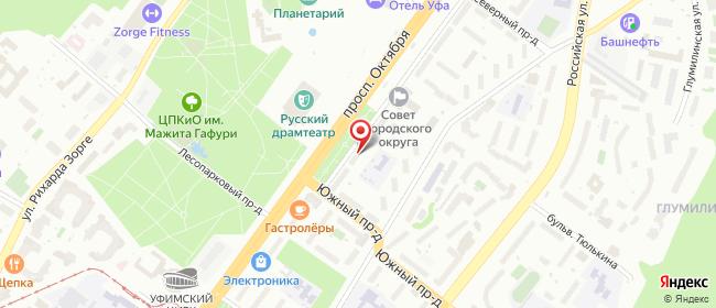 Карта расположения пункта доставки Горсовет - пр-т Октября, 116 в городе Уфа