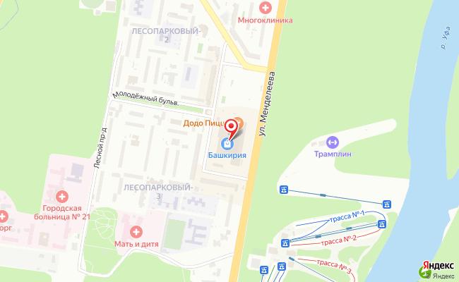 Карта расположения пункта доставки Уфа Менделеева в городе Уфа