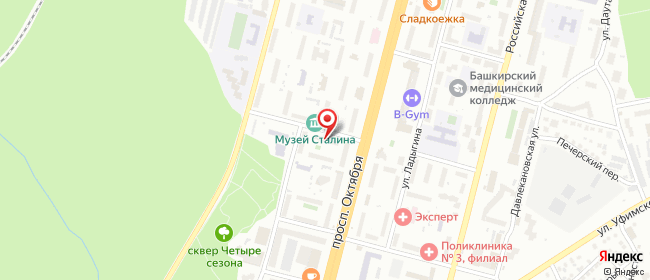 Карта расположения пункта доставки Уфа Кузнецова в городе Уфа