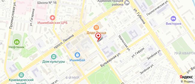 Карта расположения пункта доставки Ростелеком в городе Ишимбай