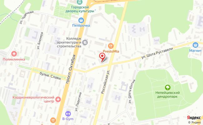 Карта расположения пункта доставки Уфа Шота Руставели в городе Уфа