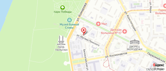Карта расположения пункта доставки Уфа Матвея Пинского в городе Уфа
