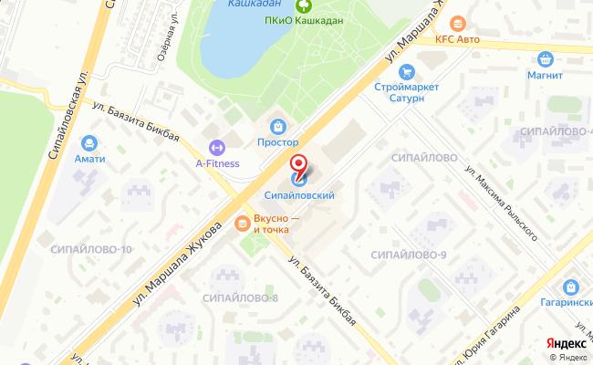 Карта расположения пункта доставки Уфа Маршала Жукова в городе Уфа