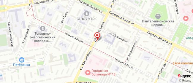 Карта расположения пункта доставки Восьмиэтажка в городе Уфа