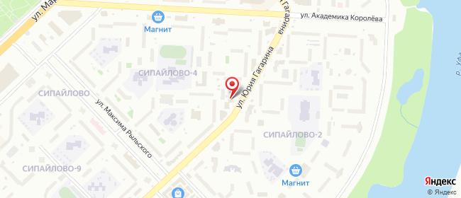 Карта расположения пункта доставки Уфа Юрия Гагарина в городе Уфа