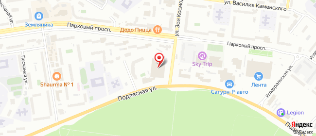Карта расположения пункта доставки Пермь Подлесная в городе Пермь