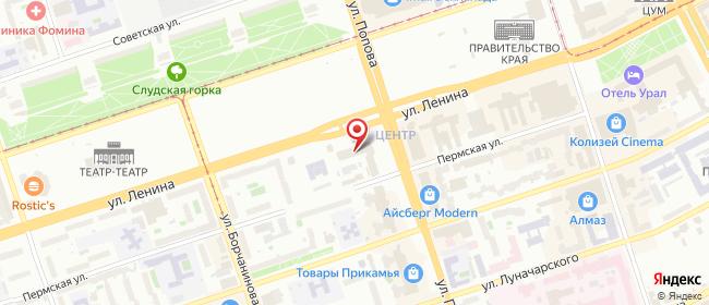 Карта расположения пункта доставки Ростелеком в городе Пермь