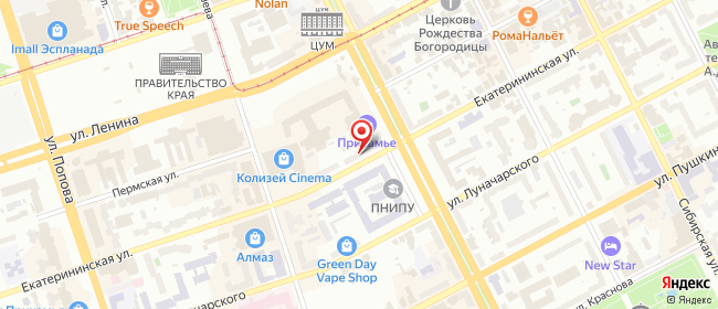 Карта расположения пункта доставки Пермь Екатерининская в городе Пермь