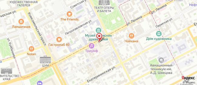 Карта расположения пункта доставки Пермь Ленина в городе Пермь