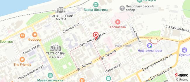 Карта расположения пункта доставки Пермь Максима Горького в городе Пермь