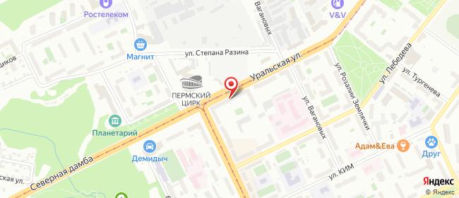 Карта расположения пункта доставки Пермь Уральская в городе Пермь