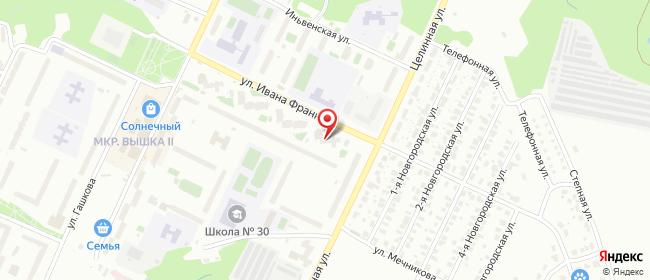 Карта расположения пункта доставки Пермь Ивана Франко в городе Пермь