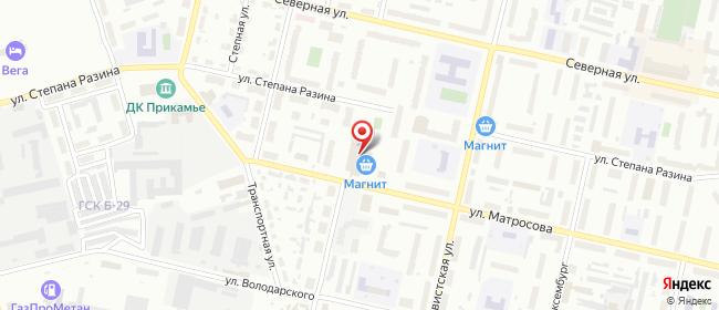 Карта расположения пункта доставки Соликамск Матросова в городе Соликамск