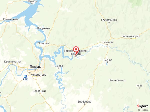 поселок Верхнечусовские Городки на карте
