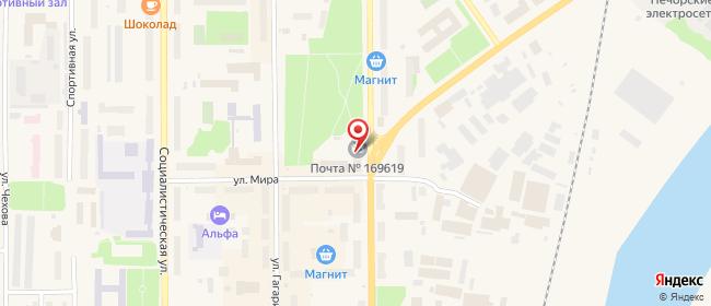 Карта расположения пункта доставки Ростелеком в городе Печора