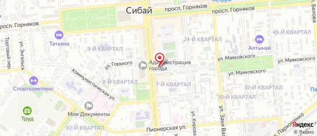 Карта расположения пункта доставки Сибай Маяковского в городе Сибай