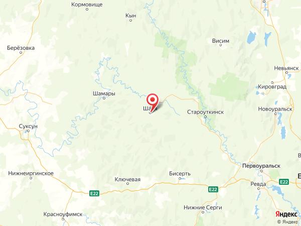 поселок городского типа Шаля на карте