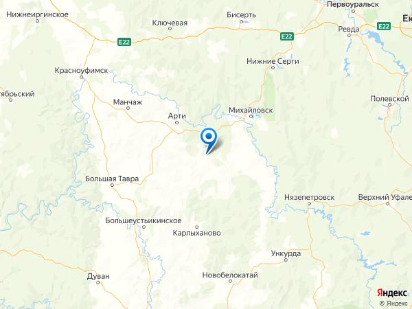 деревня Верхние Арти на карте