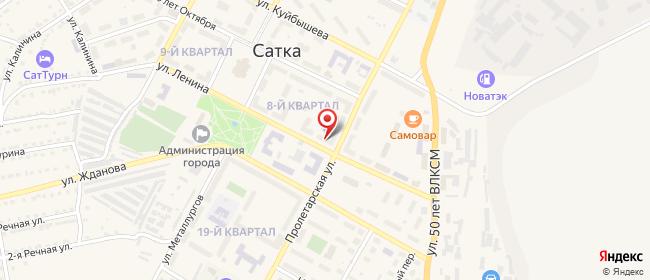 Карта расположения пункта доставки На Ленина в городе Сатка
