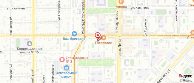 Карта расположения пункта доставки Магнитогорск Ленинградская в городе Магнитогорск
