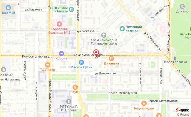 Карта расположения пункта доставки Пункт выдачи в городе Магнитогорск