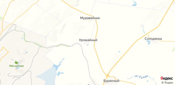 Урожайный на карте