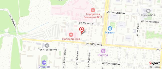 Карта расположения пункта доставки Первоуральск Гагарина в городе Первоуральск