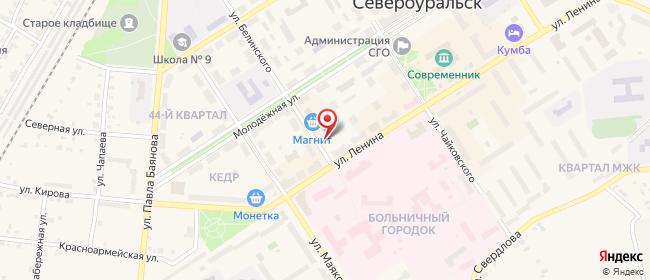 Карта расположения пункта доставки Североуральск Белинского в городе Североуральск