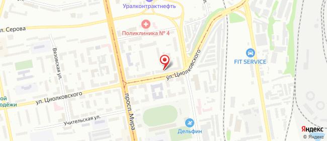 Карта расположения пункта доставки Нижний Тагил Циолковского в городе Нижний Тагил