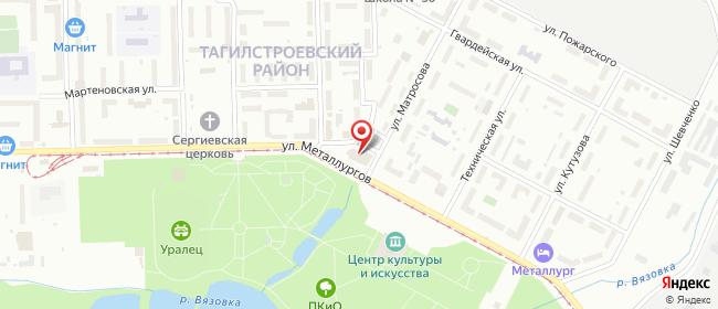 Карта расположения пункта доставки Нижний Тагил Металлургов в городе Нижний Тагил