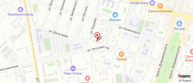 Карта расположения пункта доставки Нижний Тагил Энтузиастов в городе Нижний Тагил
