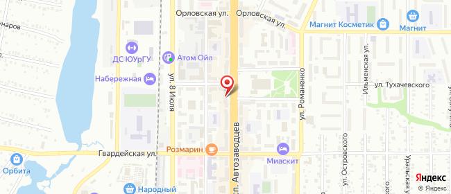 Карта расположения пункта доставки Миасс Автозаводцев в городе Миасс