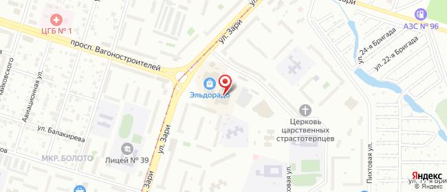 Карта расположения пункта доставки Нижний Тагил Зари в городе Нижний Тагил