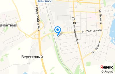 Местоположение на карте пункта техосмотра по адресу Свердловская обл, г Невьянск, ул Мартьянова, д 86