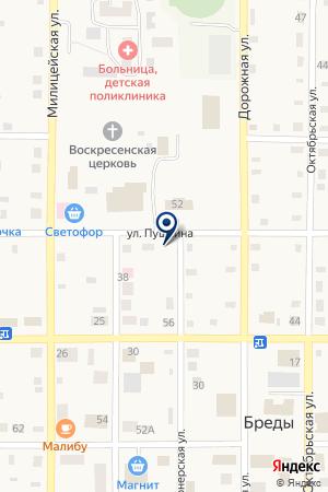 ДЕТСКАЯ КОНСУЛЬТАЦИЯ ПРИ ЦЕНТРАЛЬНОЙ РАЙОННОЙ БОЛЬНИЦЕ на карте Бредов