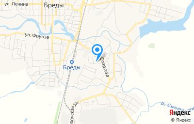 Местоположение на карте пункта техосмотра по адресу Челябинская обл, п Бреды, ул Спартака, д 20А
