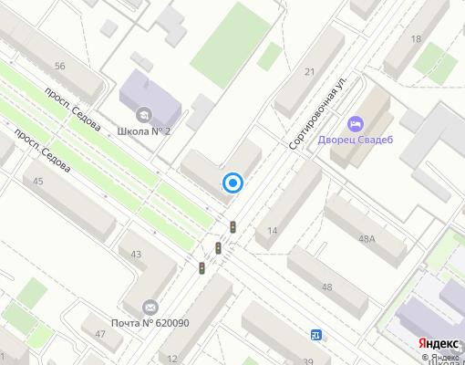 Жилищно-строительный кооператив «Седова» на карте Екатеринбурга