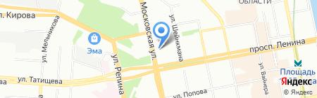 АС-лайнер на карте Екатеринбурга