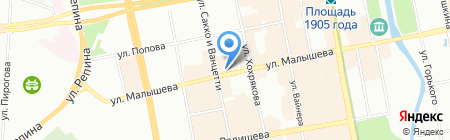 Берег Солнца на карте Екатеринбурга