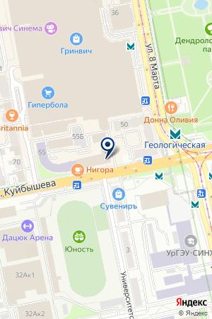 Заниматор на карте Екатеринбурга