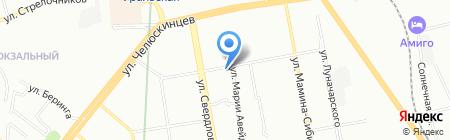Листок на карте Екатеринбурга