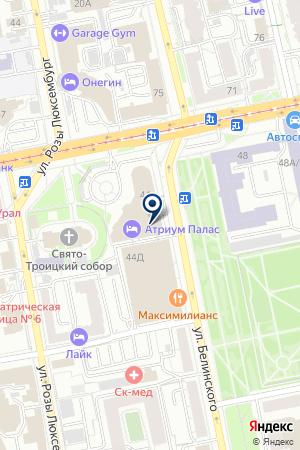 Атриум Палас Отеля на карте Екатеринбурга
