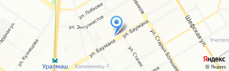 Удачный на карте Екатеринбурга