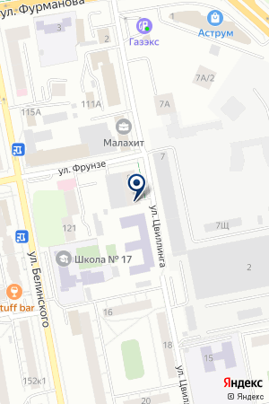 Автостоянка наулице Цвиллинга на карте Екатеринбурга