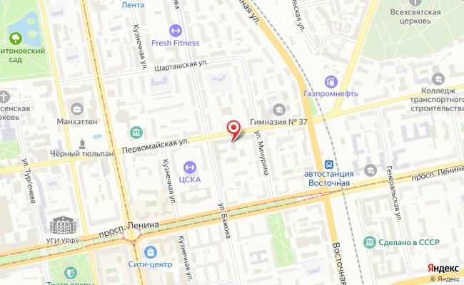 Карта расположения пункта доставки Пункт  выдачи в городе Екатеринбург